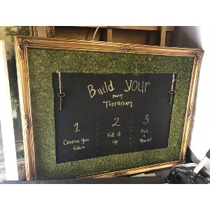 Gold Chalkboard Frame with Moss