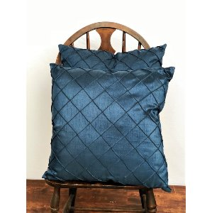 Blue with Sewn Squares Pillow
