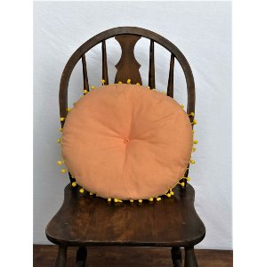 Pink and Yellow Round Boho Pillow