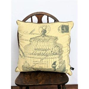 French Bird Cage Stamp Pillow