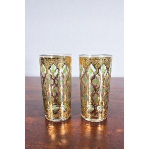 Vintage Gold Embossed Glass