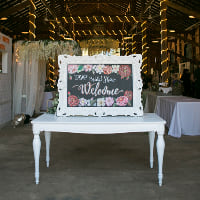 white ornate chalkboard