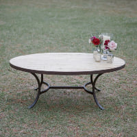 oval wood/metal coffee table