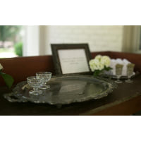 serving tray large silver tone