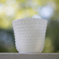 milk glass hobnail vase A