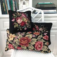 black floral pillow
