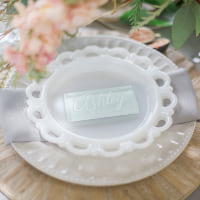milk glass lace dessert plates