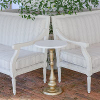 gold side table w/ white top