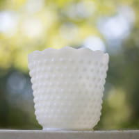 milk glass hobnail vase B