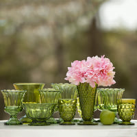 green vases assorted