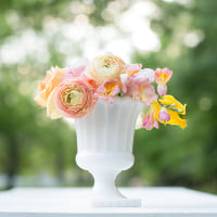 milk glass urn