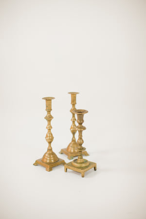 large brass candle holder - single
