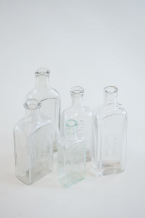 clear glass bottle - single