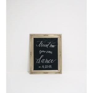 silver ornate frame chalkboard