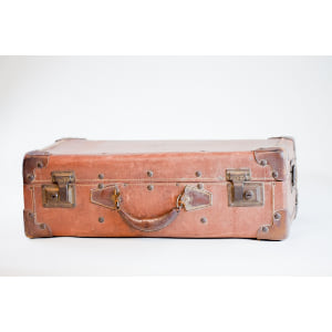 brown leather suitcase