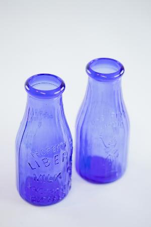 cobalt blue milk bottle