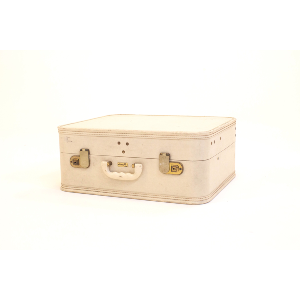 boxy white suitcase