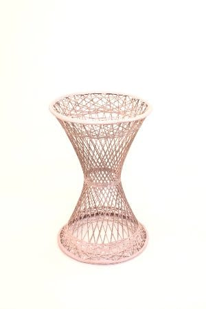 pink wicker side table