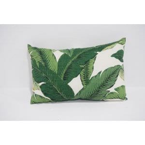 palm leaf lumbar pillow - dark