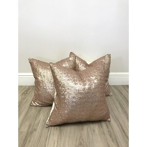 rose gold sequin pillows {set of 3}