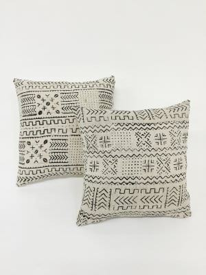 white mud cloth pillows {set of 2}