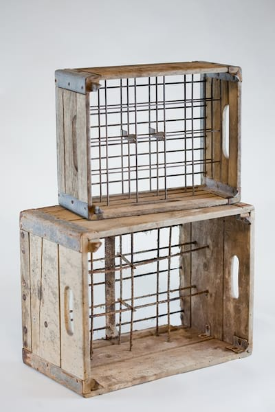 vintage wooden milk crate