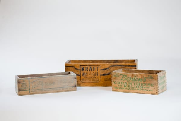 vintage wooden cheese box