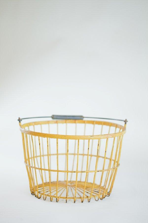 yellow coated metal egg basket