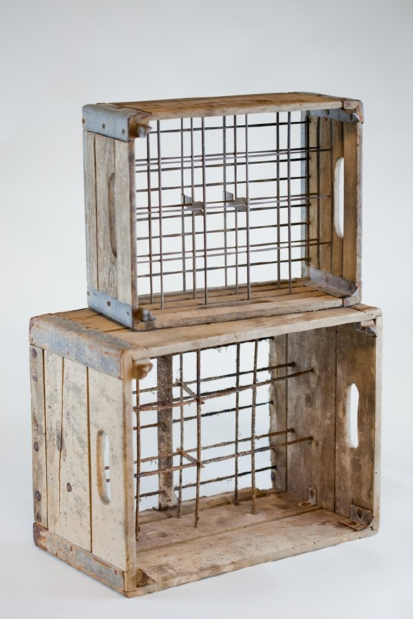 vintage wooden milk crate