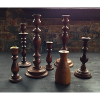 Set of 3 wooden candlesticks