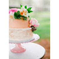 Handblown Pink Glass Cake Plate