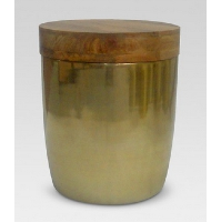 Wood Topped Brass Drum Tables