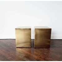 Brushed Gold Metal Cube Table