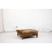 Large Leather & Pattern Ottoman