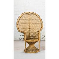 Tan Wicker Peacock Chair