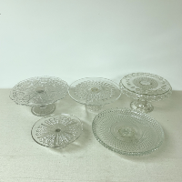 Large Clear Crystal Cake Plate