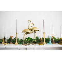 Large Brass Flamingo