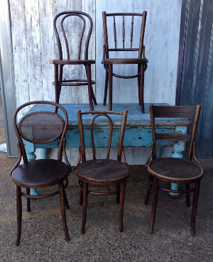 Dark Mismatched Bentwood Chairs