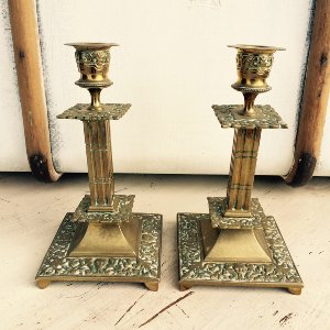 Florentine Set of 2 Brass Candlesticks