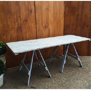 White & Blue Vintage Trestle Table