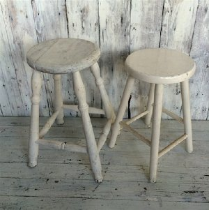 Small White Timber Stools