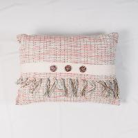 Pink woven pillow