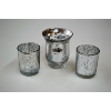 Round Silver Mercury Glass Candle Holder