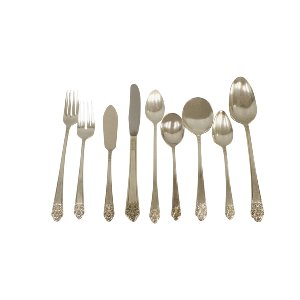 Floral Vintage Silverware Service for One