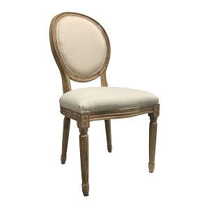 Natural Linen Oval Back Dining Chair