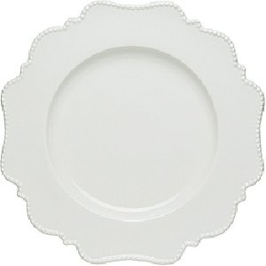 White Scalloped Pin Dot - Dinner Plate