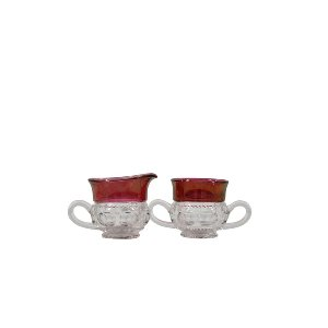 Ruby King Crown Thumbprint-Creamer/Sugar