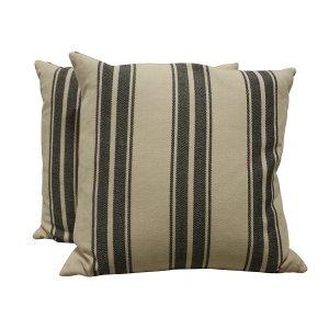 Black Striped Linen Pillow