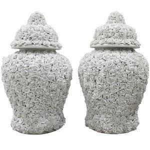 Geraldine Floral Urns-Pair