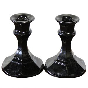 Biona - Black Glass Candlesticks (Pair)